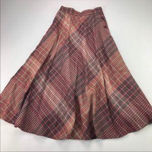 Vintage Wool A-line Maxi Plaid Skirt EUC Size 5